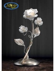Rosa lume lumetto argento con rose in porcellana design decorativo