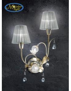 Liberty applique foglia argento riflessi oro vetri in vetro di murano