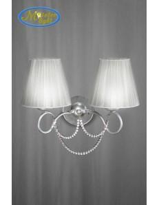 Desy applique parete argento con perline di vetro paralume tessuto