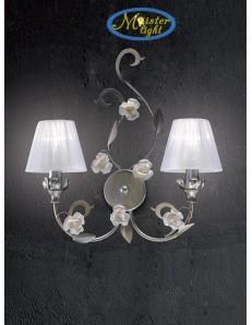Dalia applique argento paralume tessuto bianco rose ceramica stile