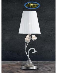 Dalia lume lumetto argento paralume tessuto bianco rose ceramica stile
