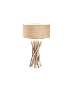 DRIFTWOOD tl1 ideal lux lume legno naturale paralume tessuto canvas