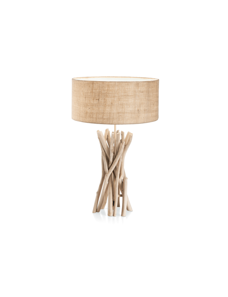 IDEAL LUX: Driftwood tl1 lume legno naturale paralume tessuto canvas in offerta