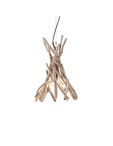 DRIFTWOOD sp1 ideal lux sospensione legno naturale paralume tessuto canvas