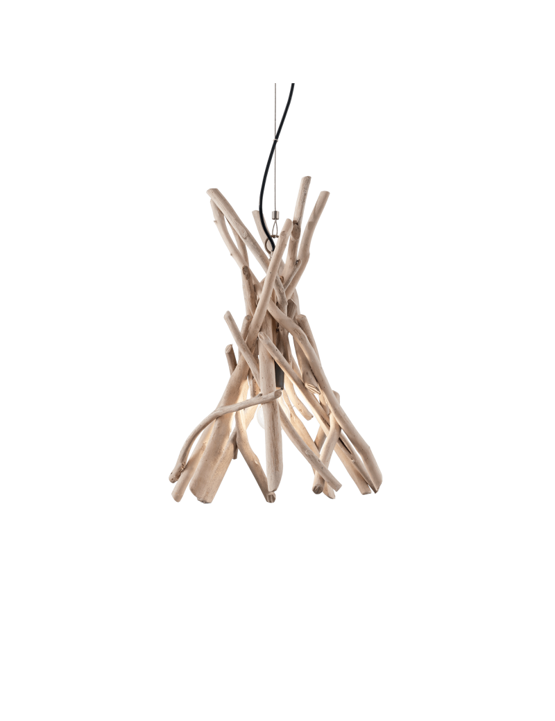 IDEAL LUX: Driftwood sp1 sospensione legno naturale paralume tessuto canvas in offerta
