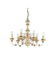 IDEAL LUX PRONTA CONSEGNA: Pisa sp6 ideal lux sospensione foglia oro antichizzato effetto legno in
