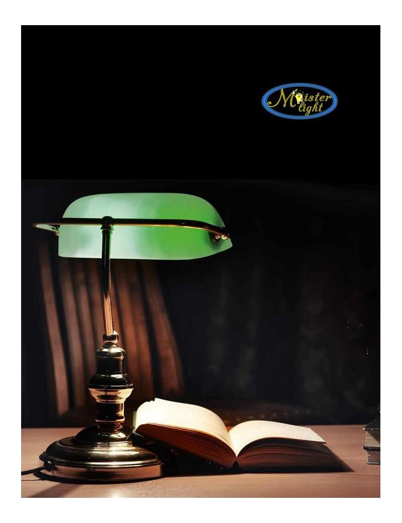 PERENZ: Lampada ufficio ottone lucido brunito metallo e vetro verde in offerta