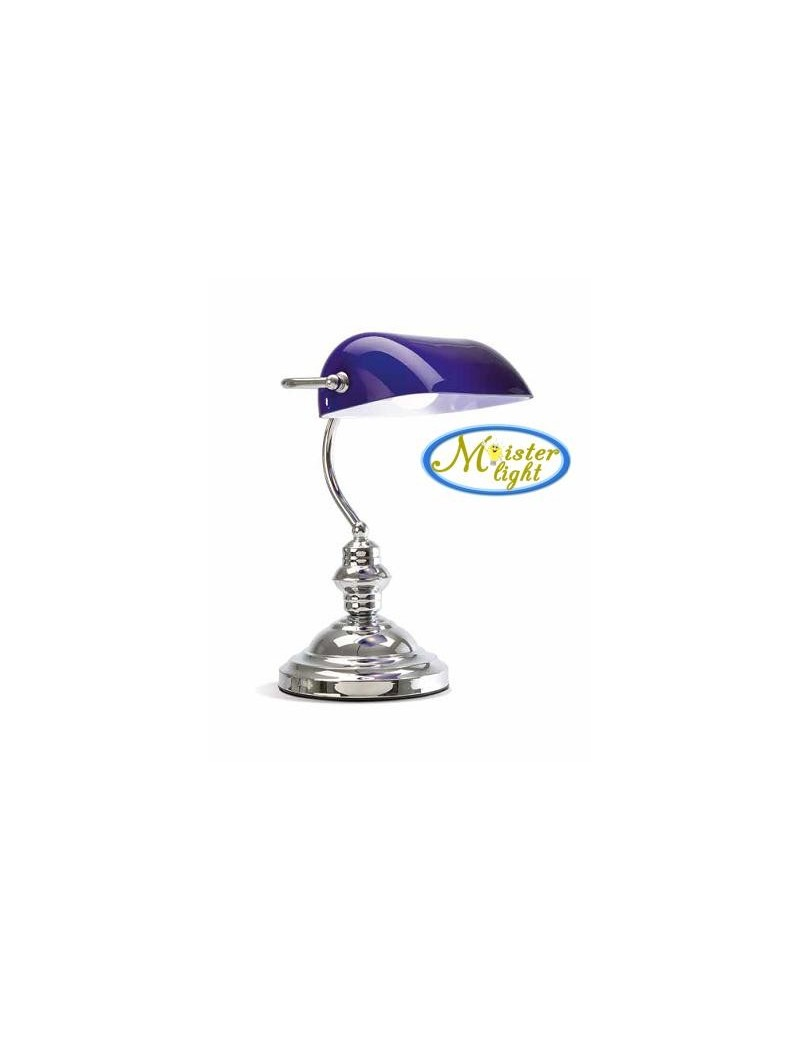 PERENZ: Lampada ufficio cromo lucido brunito scrivania metallo e vetro blu in offerta