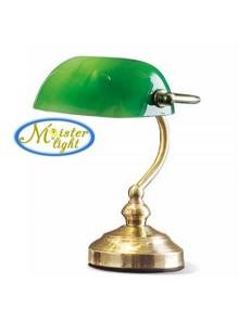 PERENZ: Lampada ottone lucido media metallo e vetro verde per scrivania in offerta