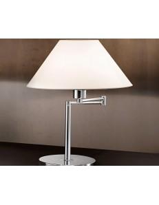Lampada da tavolo snodabile CROMO lucido con paralume in pvc PERENZ LUMETTO