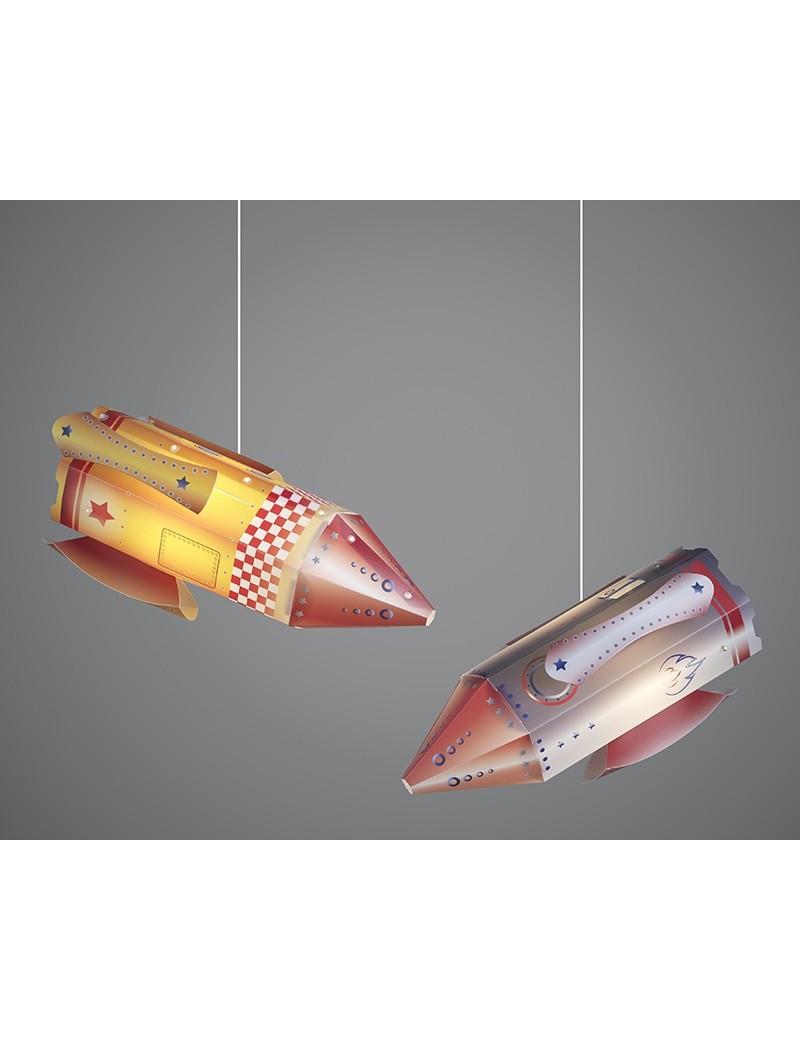 razzo aereo arancione lampada camera cameretta bambini sospensione