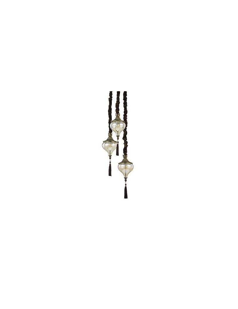 IDEAL LUX PRONTA CONSEGNA: Harem sp3 plafoniera con 3 pendenti ambra e brunito lampada in offerta