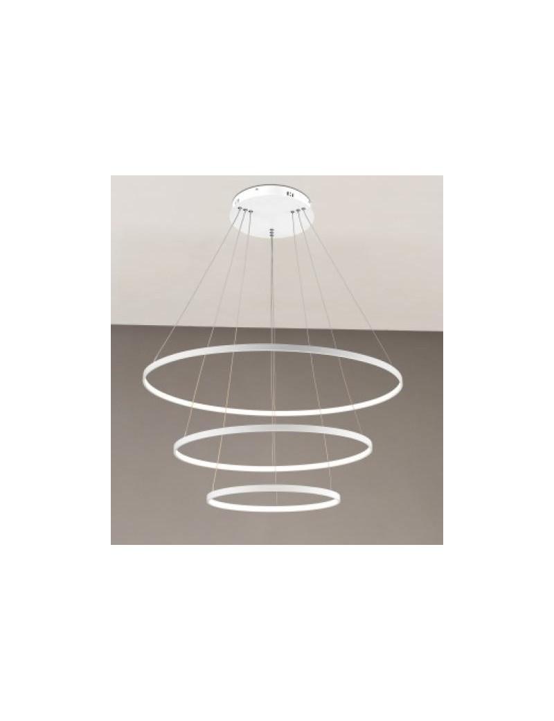 2335 SOSPENSIONE 3 ANELLI LED 102W REGOLABILI BIANCO LAMPADA ...