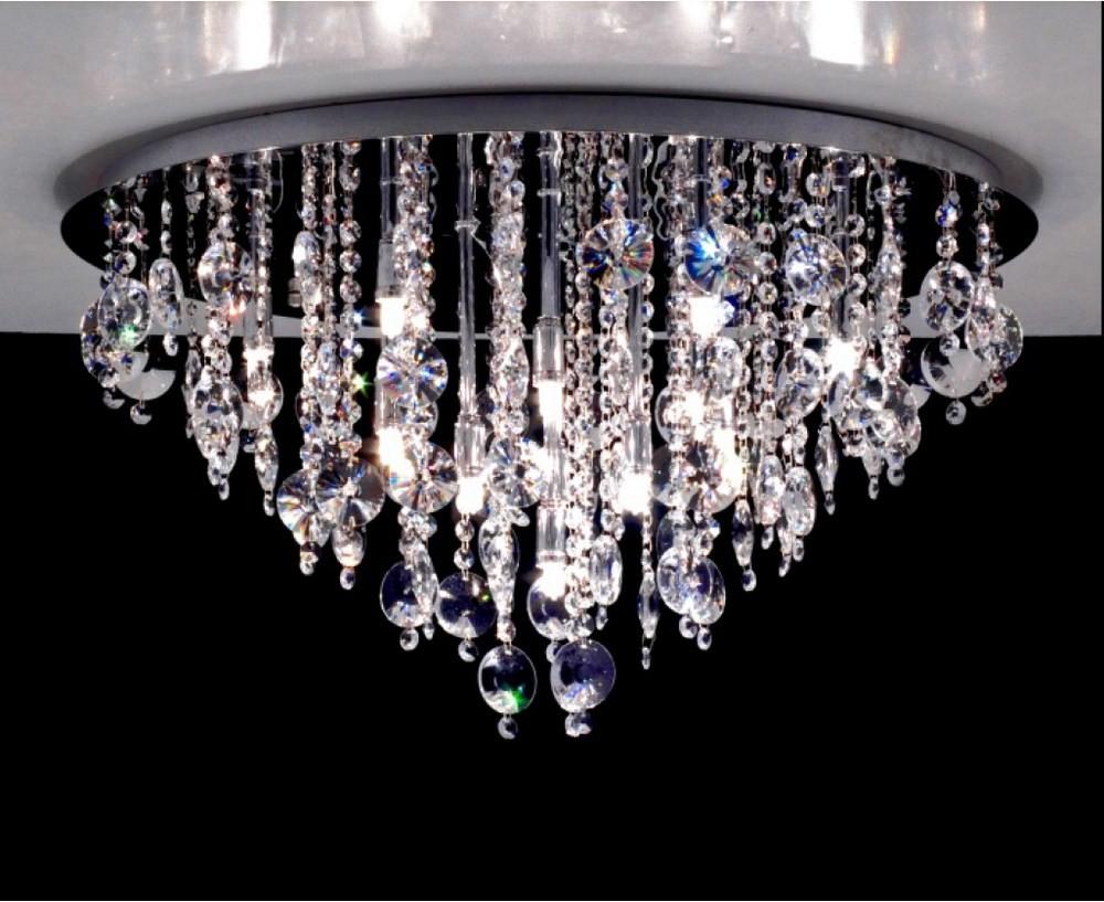 Plafoniere Acciaio E Cristallo : 3144 plafoniera diametro 65 cristallo 12 luci gocce e pendenti rotondo