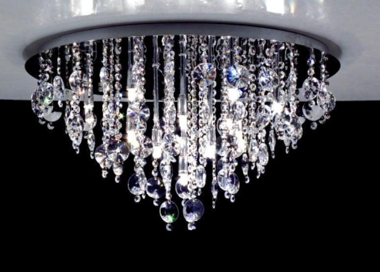 Plafoniere Rettangolari Cristallo : 3151 plafoniera diametro 45 cristallo 9 luci gocce e pendenti rotondo