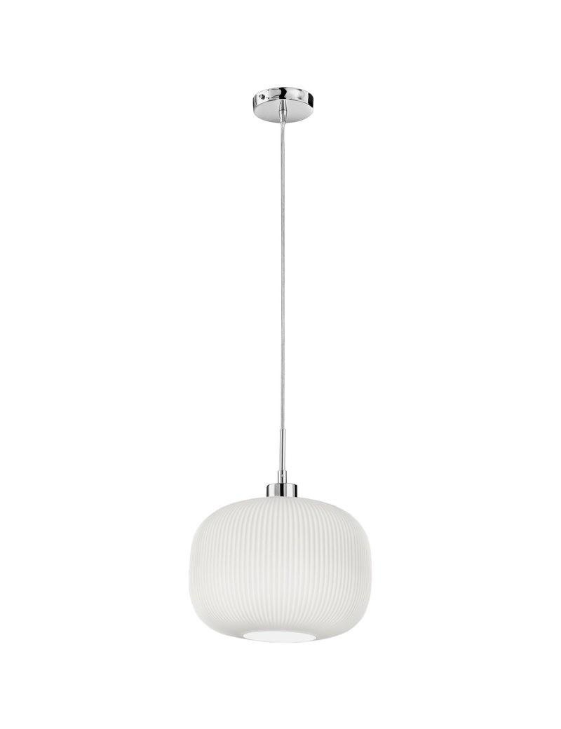 PERENZ: Lampada a sospensione cromo lucido paralume in vetro plissettato bianco 30cm in offerta