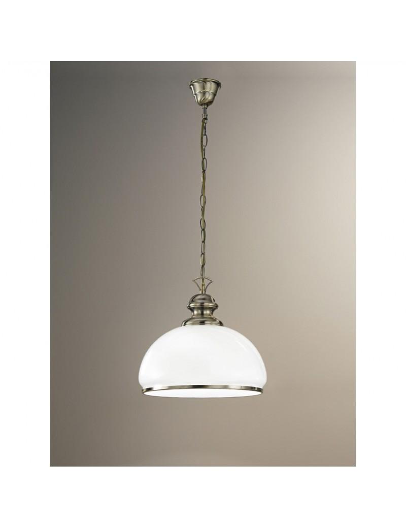 Lampadario a sospensione Lampada ottone brunito diffusore vetro