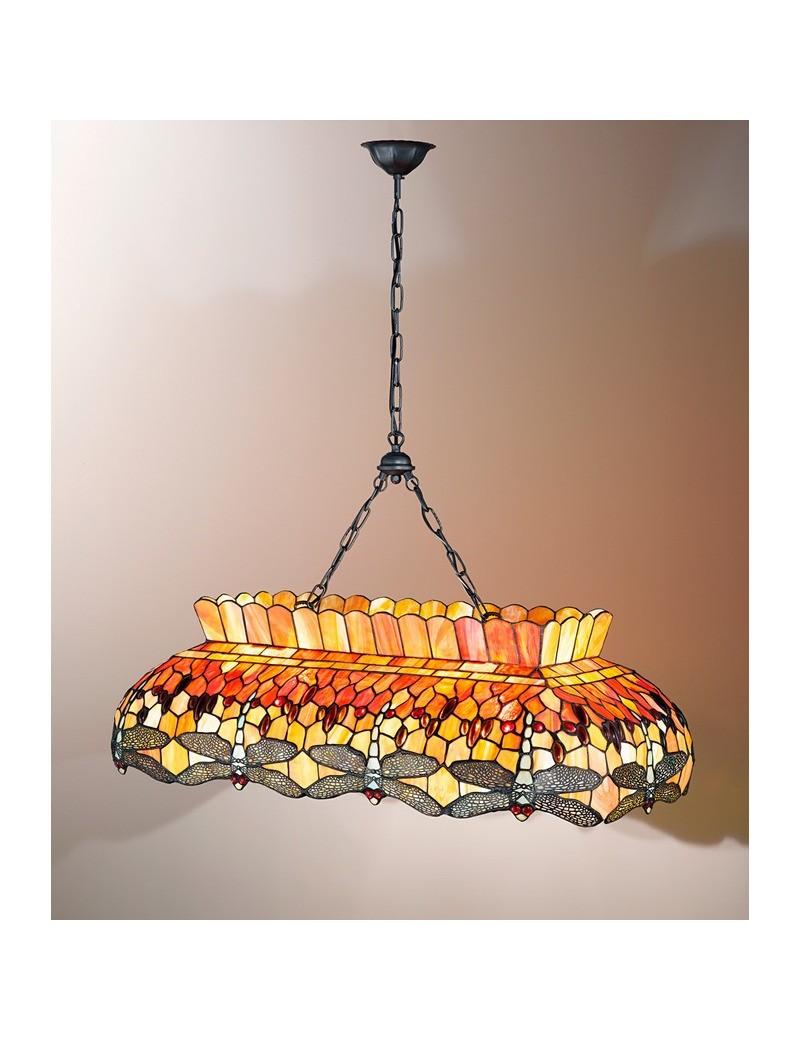 PERENZ: Tiffany t665s lampadario a sospensione decorato gocce rosse e libellule in offerta