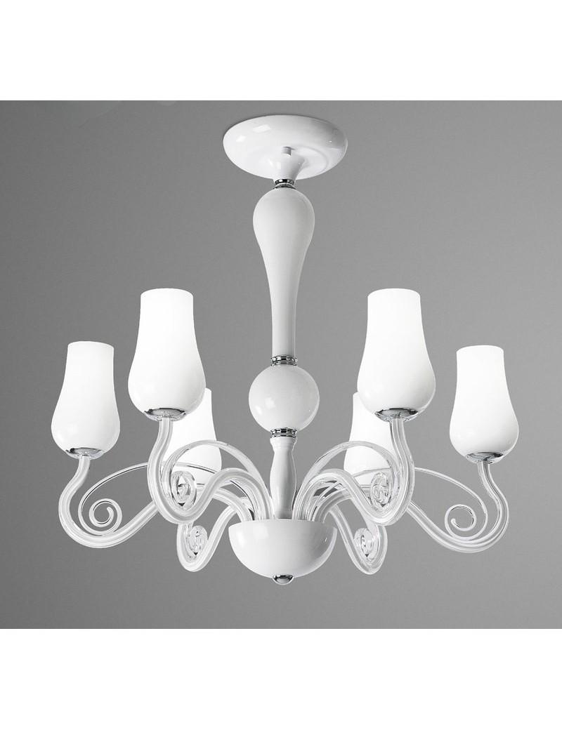 PERENZ: Lampadario 6 luci montatura metallo bianco diffusori vetro in offerta