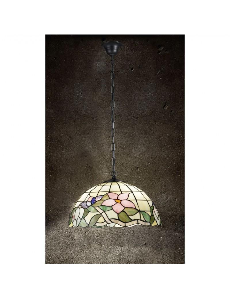 PERENZ: Tiffany t614s lampada a sospensione con fiori rosa ambra con catena in offerta