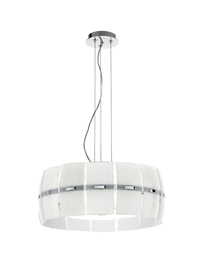 PERENZ: Lampadario sospensione a 3 luci vetro bianco con decorazione in offerta