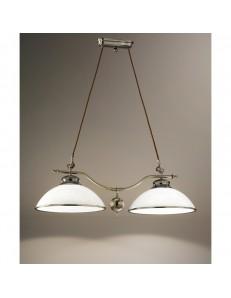 5424 BILANCERE a sospensione Lampada ottone brunito 2 diffusori vetro