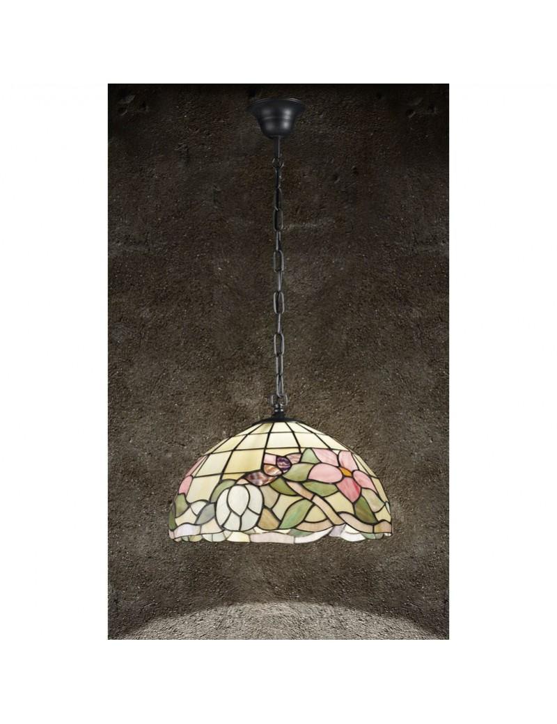 PERENZ: Tiffany t616s lampada a sospensione ambra con fiori rosa con catena in offerta