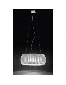 PERENZ: Lampada sospensione cromo lucido con paralume in tessuto in offerta