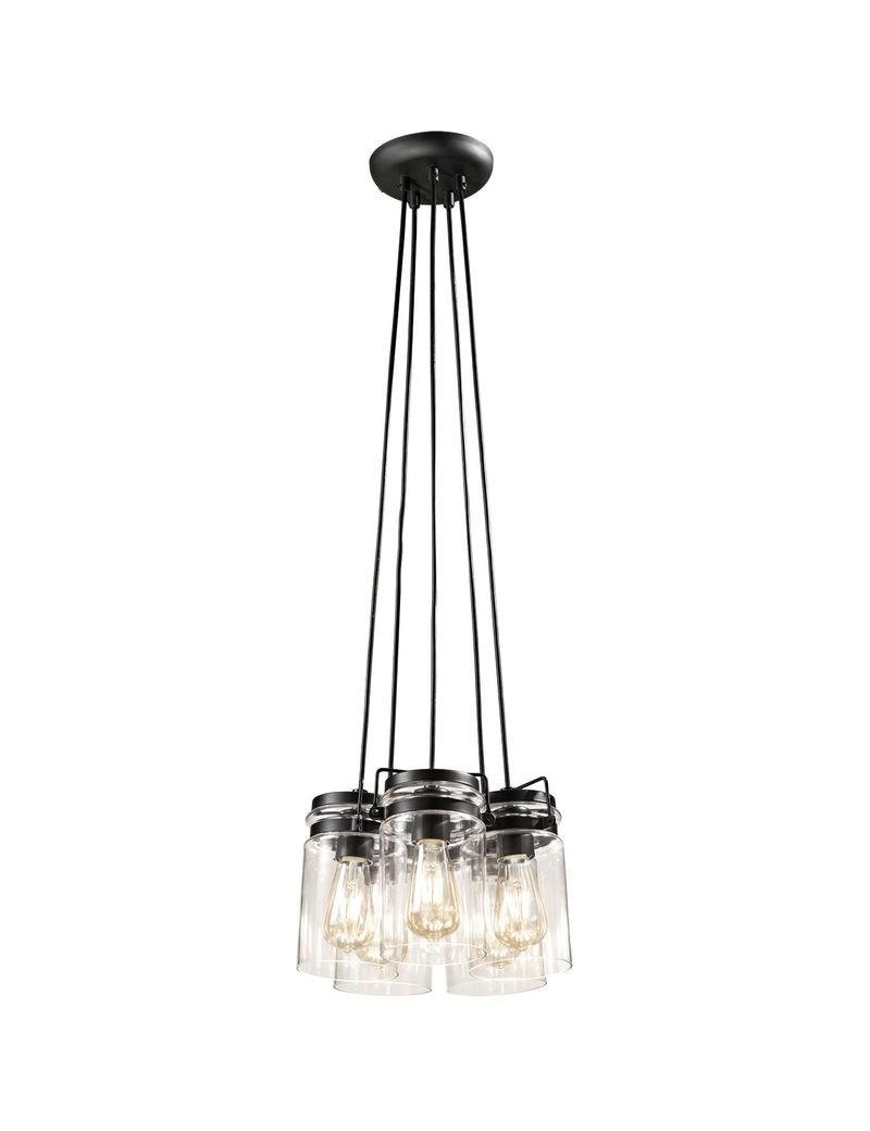 PERENZ: Lampada a sospensione 5 luci nero vintage classico trasparente in offerta