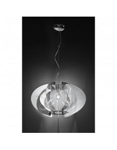 5818 Lampada sospensione design moderno dinamico in acrilico cromato Perenz