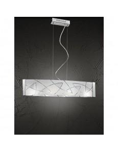 PERENZ: Lampada a sospensione in metallo con vetro decorato in offerta