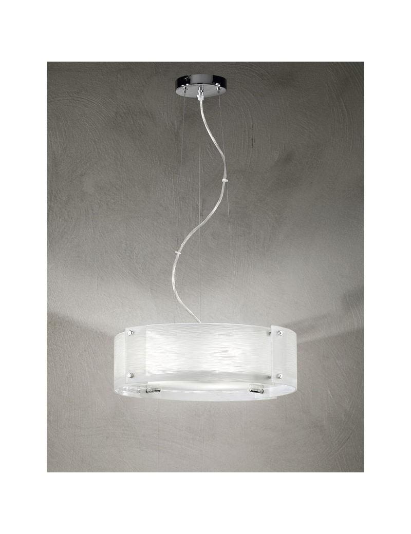 PERENZ: Lampadario a sospensione cromo lucido diffusore in vetro satinato in offerta