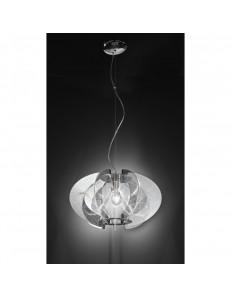 5820 Lampada sospensione design moderno dinamico in acrilico cromato Perenz