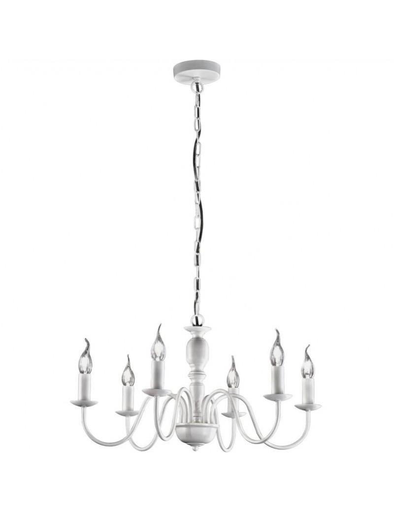 PERENZ: Sospensione 6 luci metallo modellato bianco 60cm in offerta