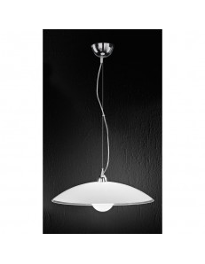 PERENZ: Lampada sospensione in vetro bianco e trasparente 55cm in offerta