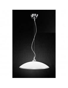 Lampada sospensione in vetro bianco e trasparente 45cm