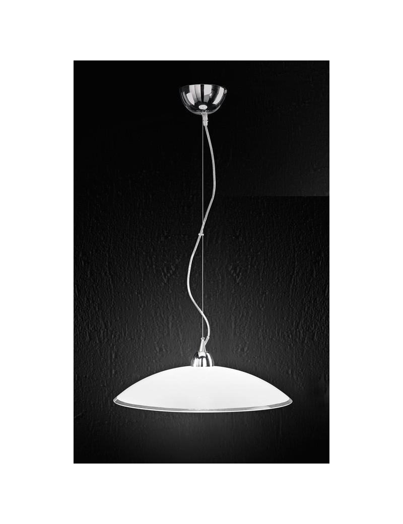 PERENZ: Lampada sospensione in vetro bianco e trasparente 45cm in offerta