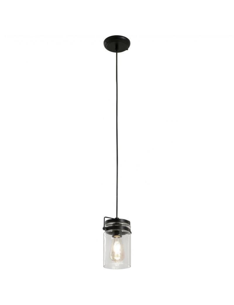 PERENZ: Lampada a sospensione 1 luce nero vintage classico trasparente in offerta