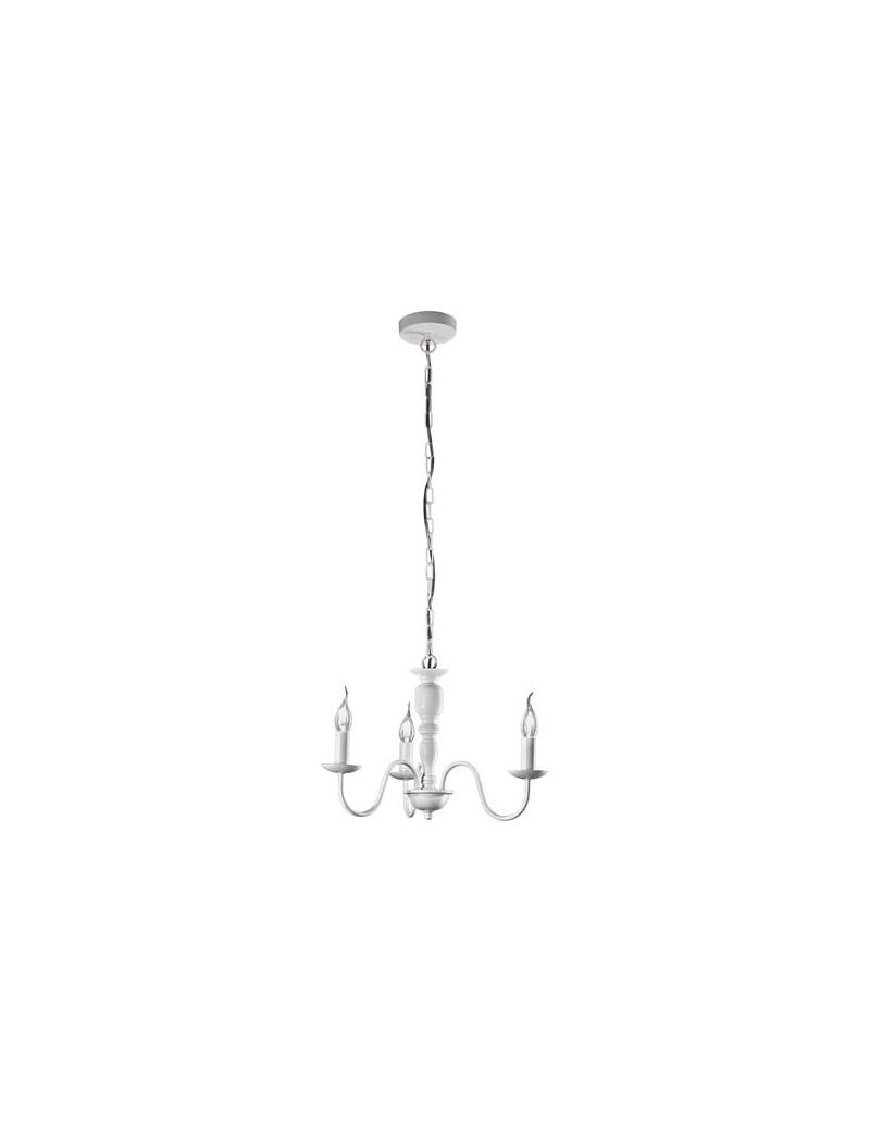 PERENZ: Sospensione 3 luci metallo modellato bianco 50cm in offerta