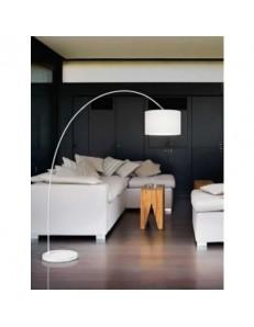 PERENZ: Piantana ad arco con paralume stoffa bianco vintage classico in offerta