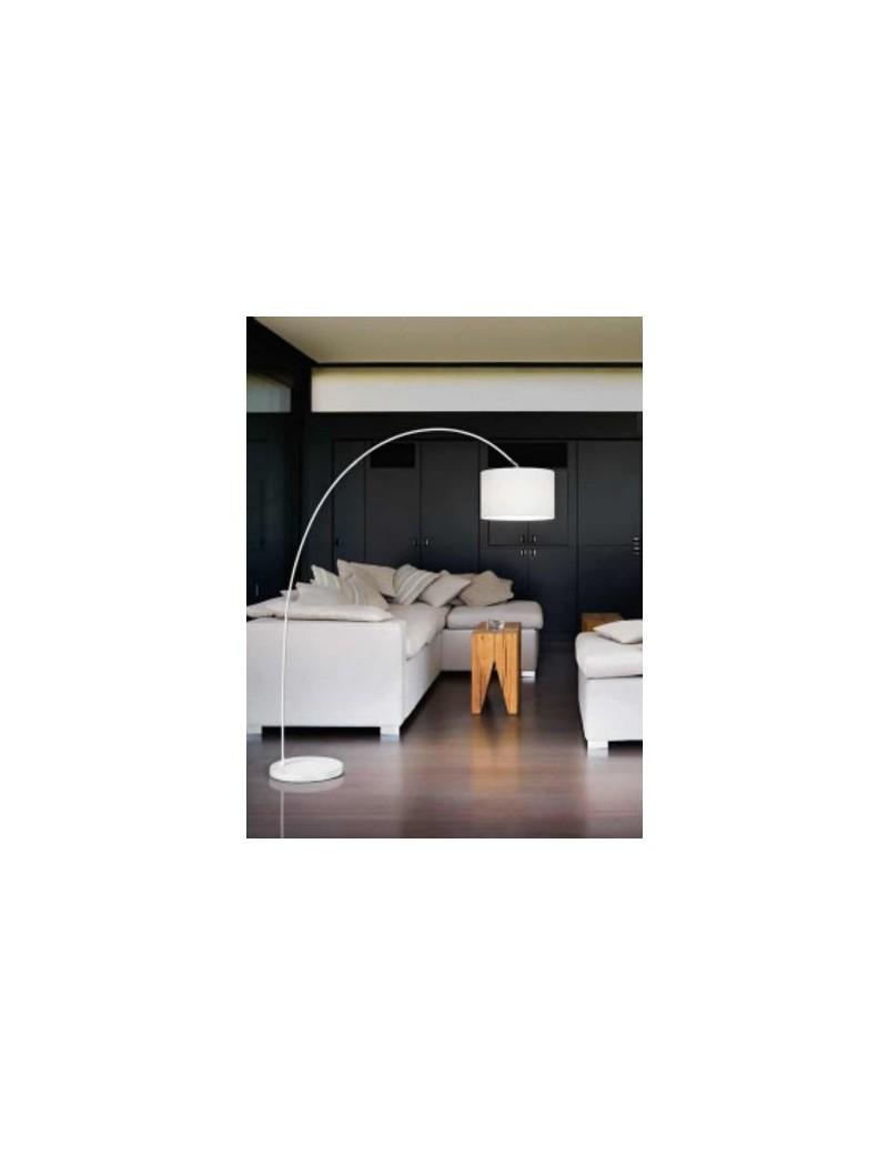 Piantana ad arco con paralume stoffa bianco vintage classico