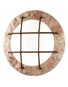 379 R Plafoniera rotonda rivestita in pietra naturale rosa scolpita PERENZ