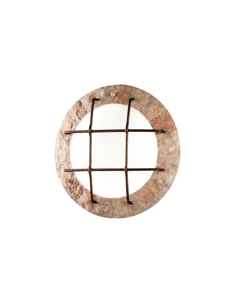 PERENZ: Plafoniera rotonda rivestita in pietra naturale rosa scolpita in offerta
