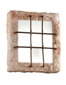 374 R Plafoniera quadrata rivestita in pietra naturale rosa scolpita PERENZ