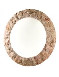 PERENZ: Plafoniera rotonda rivestita in pietra naturale rosa scolpita con griglia in offerta