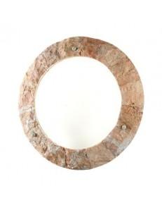 PERENZ: Applique rotonda rivestita in pietra naturale rosa scolpita in offerta