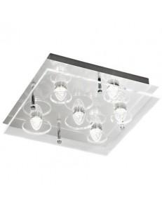 Plafoniera LED quadrata metallo diffusore vetro trasparente
