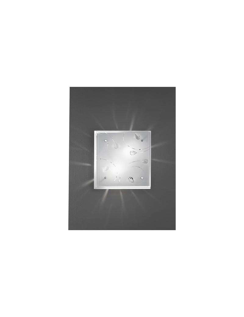 PERENZ: Plafoniera quadrata con vetro e cristalli incastonati 30x30cm in offerta