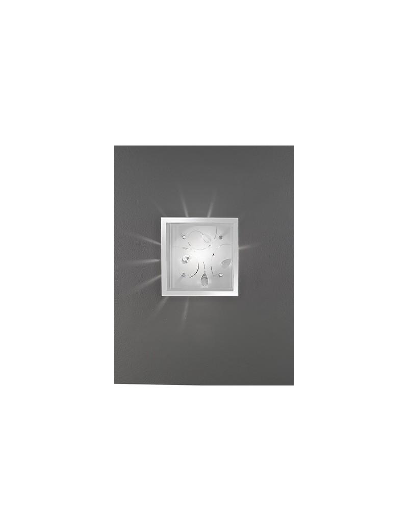 PERENZ: Plafoniera quadrata con vetro e cristalli incastonati 25x25cm in offerta
