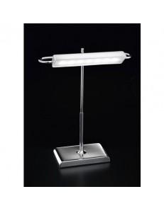 4807 B Lampada da scrivania LED CROMO LUCIDO VETRO BIANCO UFFICIO STUDIO